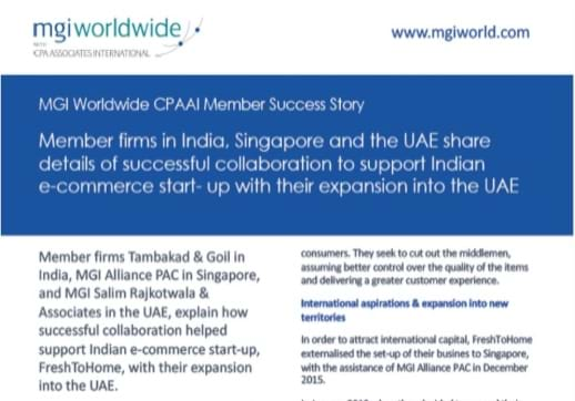 MGI World Print screen of Tambakad & Goil MENA Success Story - first page section