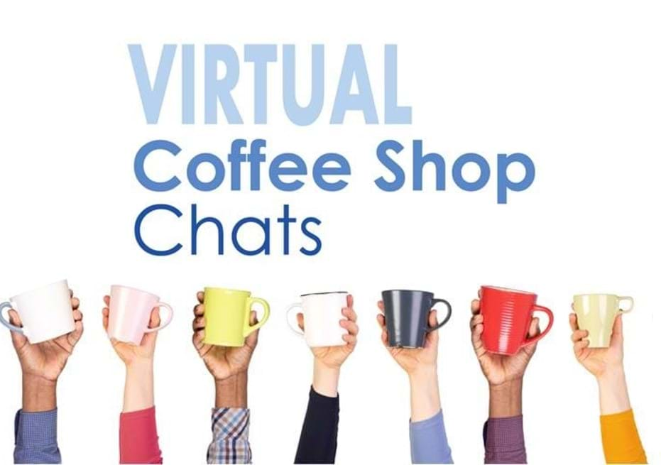MGI World Hands holding coffe cups as a background image for the Virtual Coffee Shop Chats