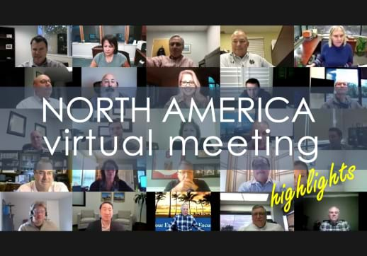 MGI World Montage of member faces on Zoom call with NAm January Meeting text overlay