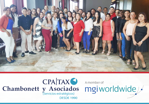 MGI World Group picture of Chambonett employees with text under
