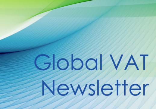 MGI World Green and blue abstract pattern with Global VAT Newsletter text over lay