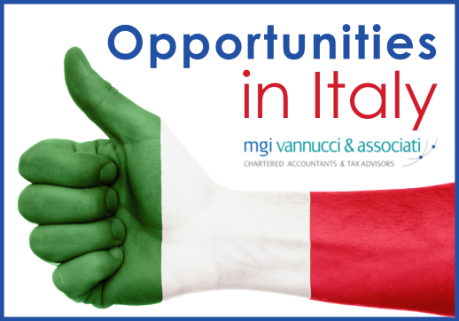 MGI World Thumbs up image with the colours of the Italian flag with text and logo