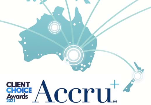 MGI World Accru logo and Australasia map
