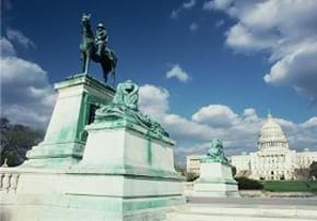 MGI World MGI accounting network, North America Area news item, US Moves a Step Closer, image of capitol building with horseman statue
