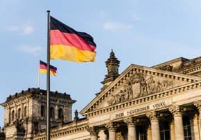 MGI World MGI Worldwide accounting network, newsroom item, Doing Business in Germany, building with German flag image