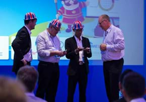 MGI World New Members attending MGI Worldwide Global AGM 2015, Paul Winder plus three new members with hats