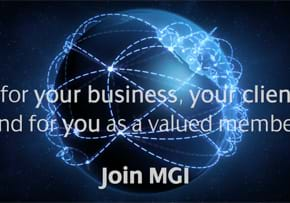 MGI World Join MGI Worldwide Accounting Network image of globe with network of blue lights